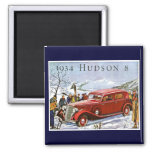 1934 Hudson 8 Vintage Advertisement 2 Inch Square Magnet