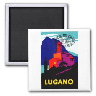 1934 Lugano Philatelic Poster 2 Inch Square Magnet