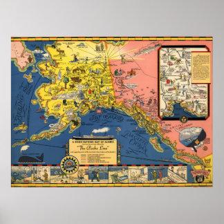 1934 Territory of Alaska Map Poster