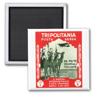 1934 Tripolitania 1 Lire stamp 2 Inch Square Magnet