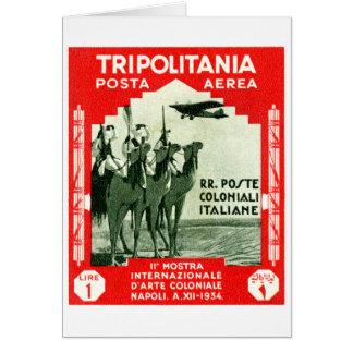 1934 Tripolitania 1 Lire stamp Card