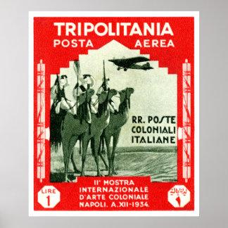 1934 Tripolitania 1 Lire stamp Poster