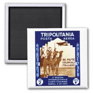 1934 Tripolitania 2 Lire stamp 2 Inch Square Magnet