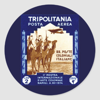 1934 Tripolitania 2 Lire stamp Classic Round Sticker