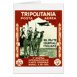 1934 Tripolitania 80 centesimi stamp Card