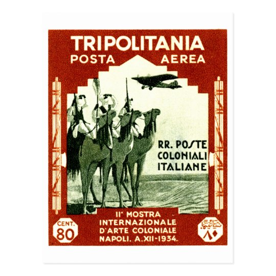 1934 Tripolitania 80 centesimi stamp Postcard