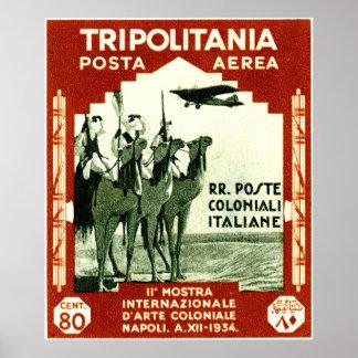 1934 Tripolitania 80 centesimi stamp Poster