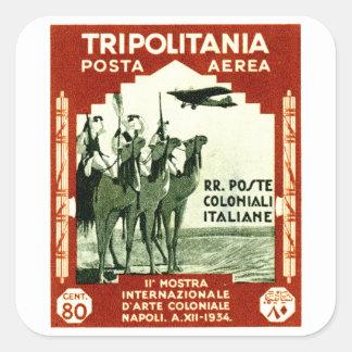 1934 Tripolitania 80 centesimi stamp Square Sticker