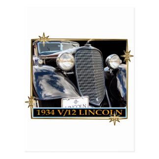 1934 V-12 LINCOLN POSTCARD