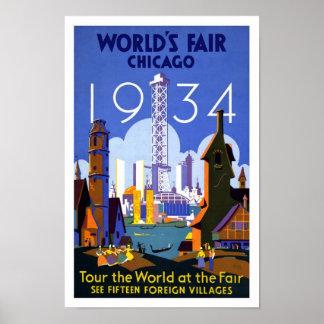 1934 World s Fair Chicago Vintage Poster Print
