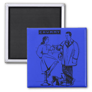 1935 Blue Chummy 2 Inch Square Magnet