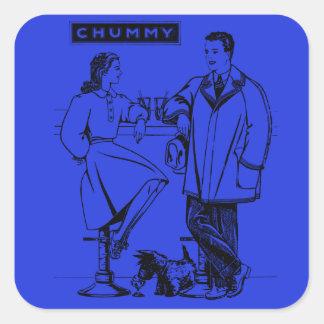 1935 Blue Chummy Square Sticker
