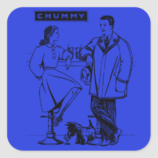 1935 Blue Chummy Square Stickers