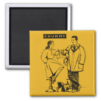 1935 Gold Chummy 2 Inch Square Magnet