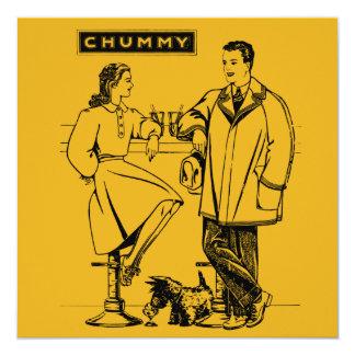 """1935 Gold Chummy 5.25"""" Square Invitation Card"""