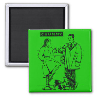 1935 Green Chummy 2 Inch Square Magnet