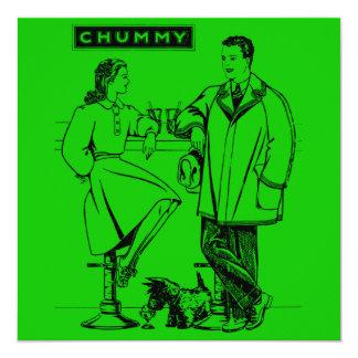 """1935 Green Chummy 5.25"""" Square Invitation Card"""