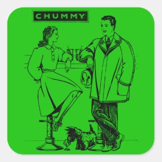 1935 Green Chummy Square Sticker