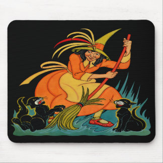 1935 Halloween Witch with Cats Mousepad