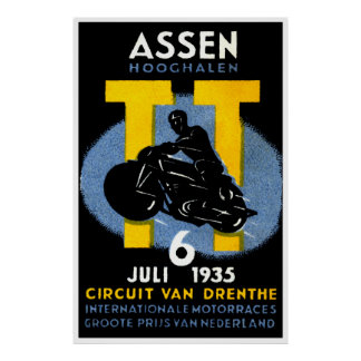 1935 International Motorcycle Races Poster