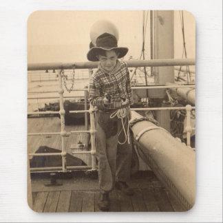 1935 juvenile cowboy on shipboard mouse pad