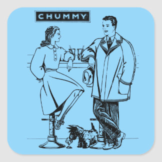 1935 Light Blue Chummy Square Sticker