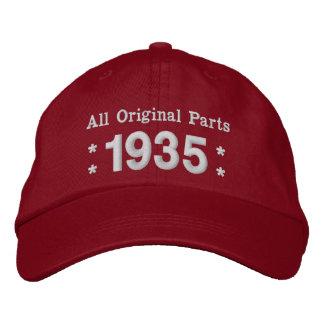 1935 o cuaesquiera ROJOS y BLANCOS del cumpleaños Gorras De Beisbol Bordadas