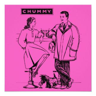 "1935 Pink Chummy 5.25"" Square Invitation Card"