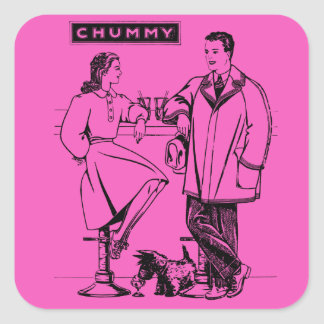 1935 Pink Chummy Square Sticker