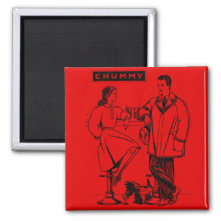 1935 Red Chummy 2 Inch Square Magnet