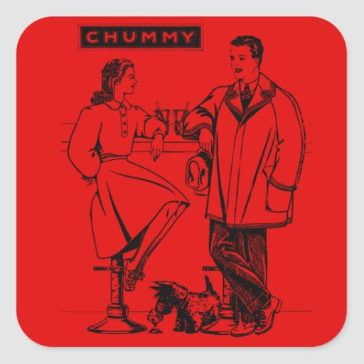 1935 Red Chummy Square Sticker