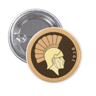 1936 Aurora Spartan Head Badge (ONU Squared) Pinback Button
