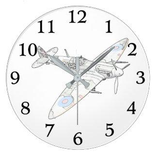 1936 aviones de combate del Spitfire de WWII - Reloj Redondo Grande