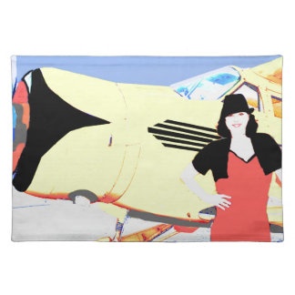 1936 Beechcraft Staggerwing and Woman Place Mats