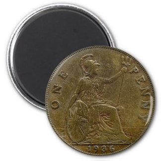 1936 British penny magnet