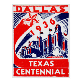 1936 Dallas Texas Centennial Poster