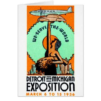 1936 Detroit + Michigan Expo Poster Card