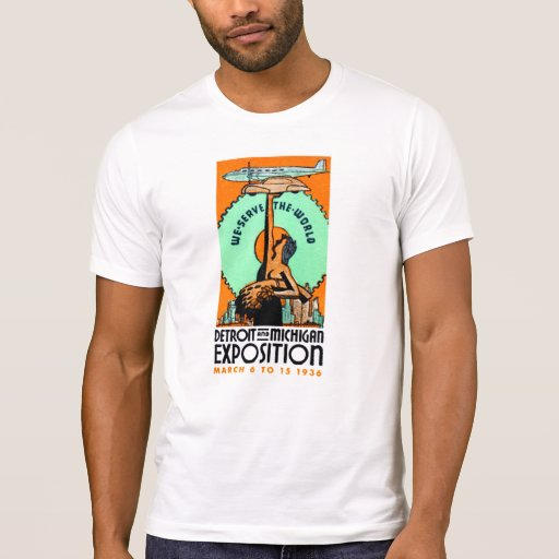 1936 Detroit + Michigan Expo Poster T-Shirt