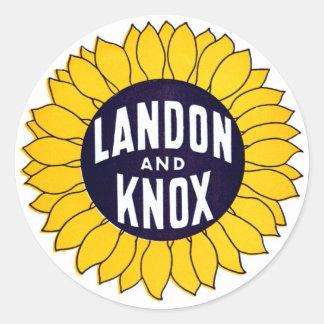 1936 Elect Landon and Knox Classic Round Sticker