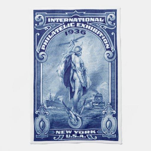 1936 expo filatélica internacional Nueva York Toalla De Mano