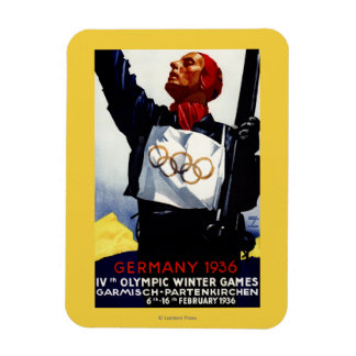 1936 Olympic Winter Games Advertisement Poster Rectangle Magnets