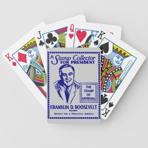 1936 Stamp Collector FDR for President Bicycle Playing Cards