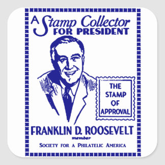1936 Stamp Collector FDR for President Square Sticker