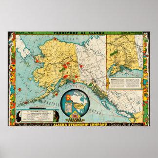 1936 Territory of Alaska Map Poster