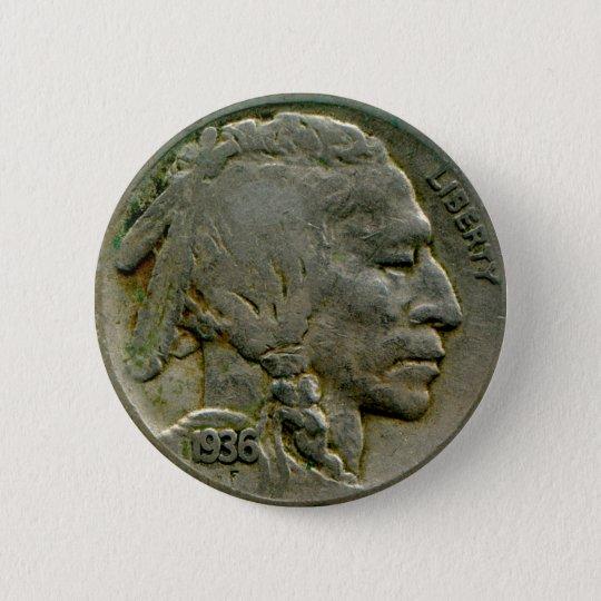1936 US 'Buffalo' nickel heads button