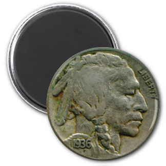 1936 US 'Buffalo' nickel heads magnet