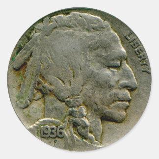 1936 US 'Buffalo' nickel heads sticker