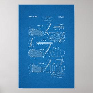 1936 Vintage Golf Club Patent Blueprint Art Print