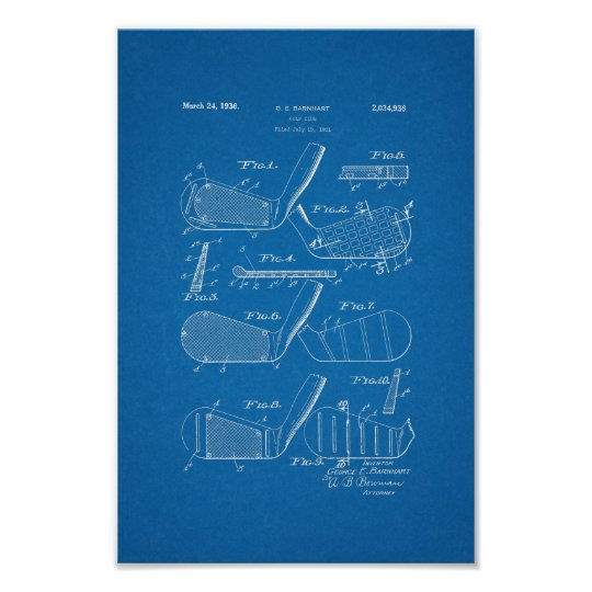 1936 vintage golf club patent blueprint art print zazzle 1936 vintage golf club patent blueprint art print malvernweather Image collections