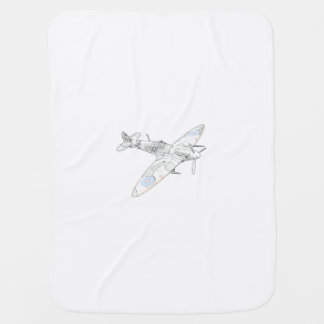 1936 WWII Spitfire Fighter Aircraft-color Swaddle Blanket